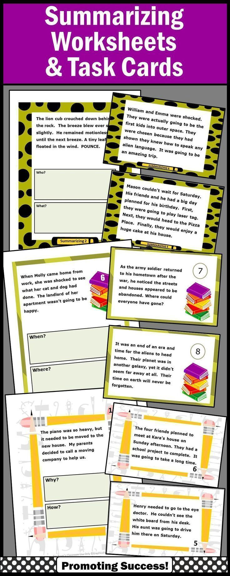 Summarizing Activities For 4th Grade Bundle Wh Questions Worksheets Task Cards Summarizing Activities Summarizing Worksheet Wh Questions Worksheets