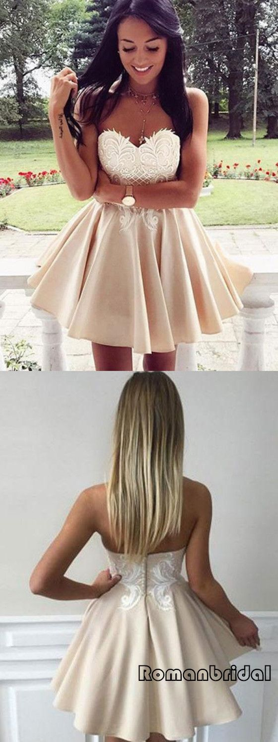 Newest sexy strapless appliques shortmini prom dresses popular