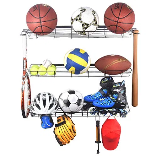 Kinghouse Sports Equipment Storage Rack Sports Ball Storage Rack With 3 Baskets And 4 Hooks Best Offer For Outdoorfull Com In 2020 Sports Equipment Storage Sports Gear Storage Equipment Storage