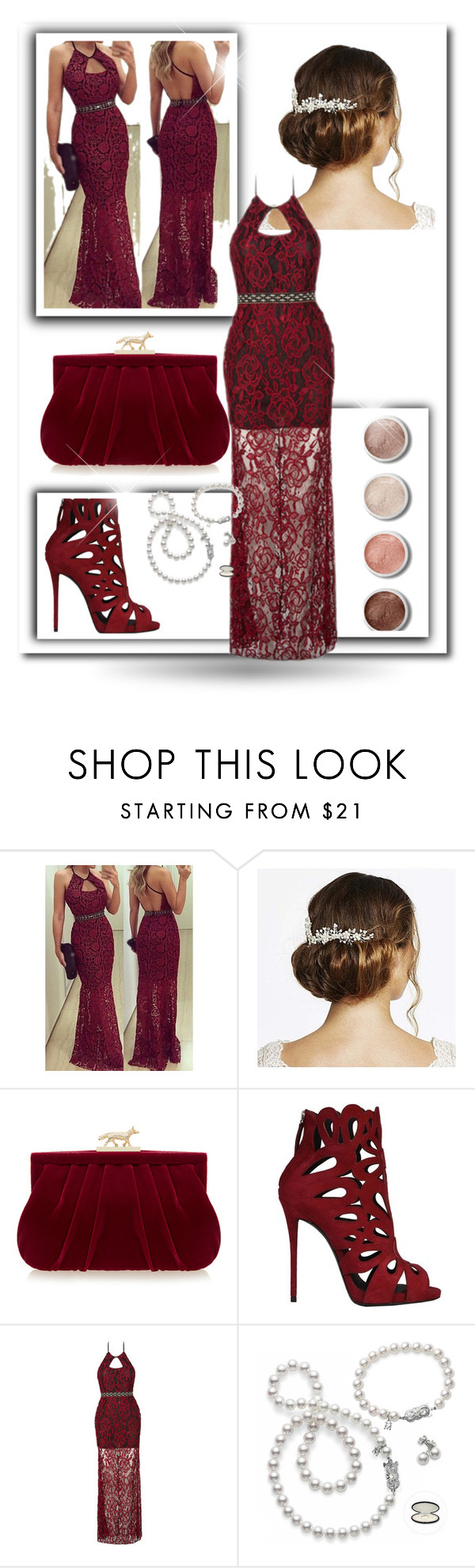 """""""a long dresess with lace"""" by fatmafatma123 ❤ liked on Polyvore featuring Jon Richard, Wilbur & Gussie, Terre Mère, Giuseppe Zanotti and Mikimoto"""