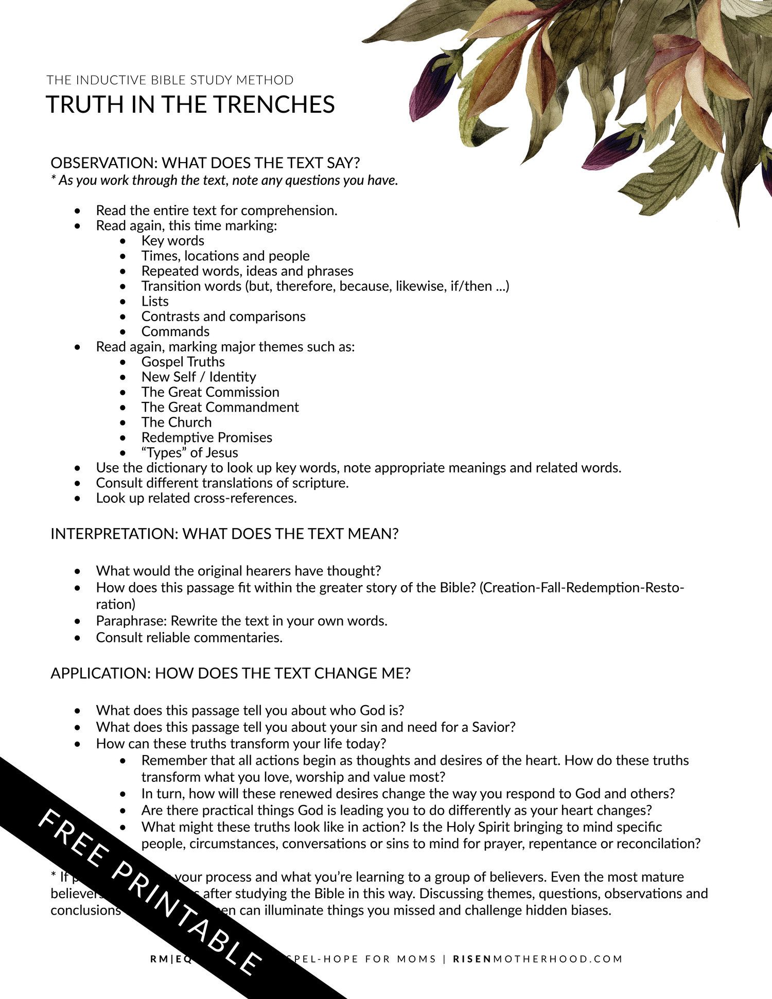 Bible Study Worksheets Floral The Abide Method