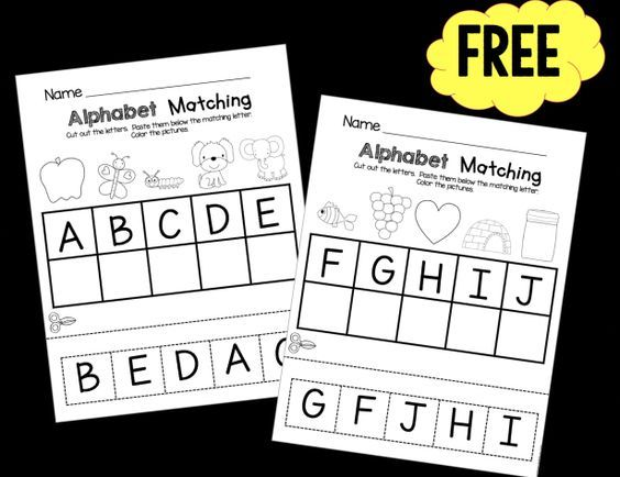 Free Cut And Paste Alphabet Matching Worksheets Preschool And