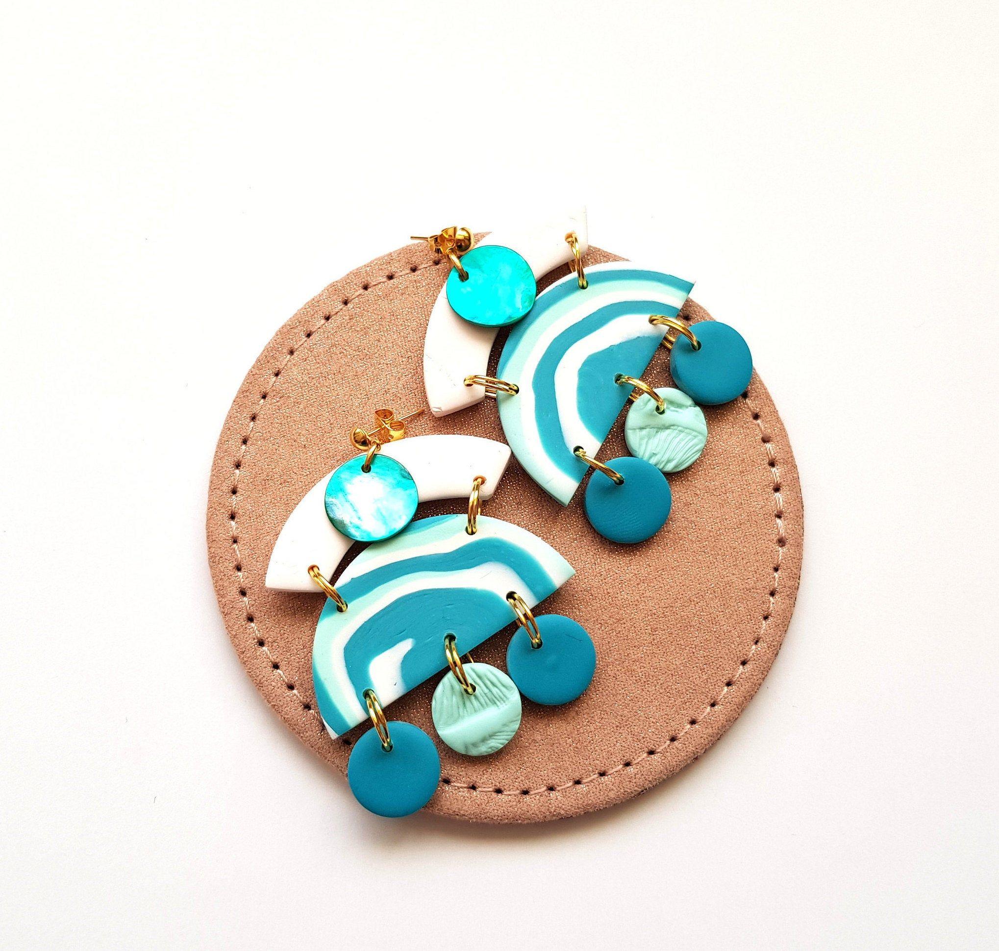 White Turquoise Earrings Polymer Clay Earrings Geometric Etsy In 2020 Polymer Clay Earrings Clay Earrings Statement Drop Earrings