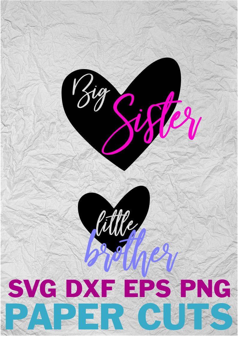 Big Sister Little Brother Hearts Digital Download Svg Dxf Png Eps Vozeli Com
