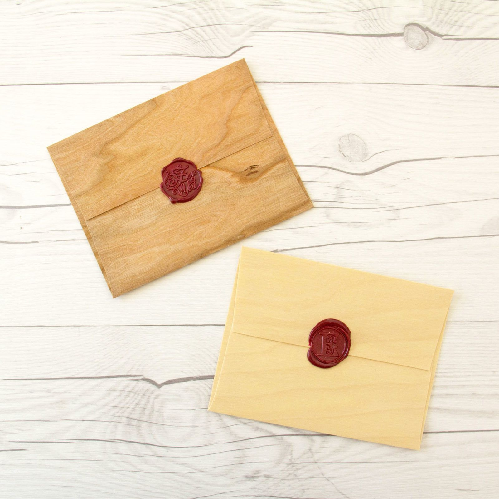Signed & Sealed Wax seals on Real Wood Envelopes Wax
