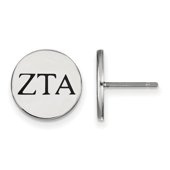 Zales Black Enamel Kappa Alpha Theta Sorority Stud Earrings in Sterling Silver RXRQNKSe