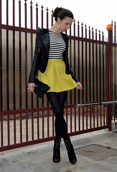 Black Jacket | Stripe Top | Yellow Skirt | Black Tights | Black ...