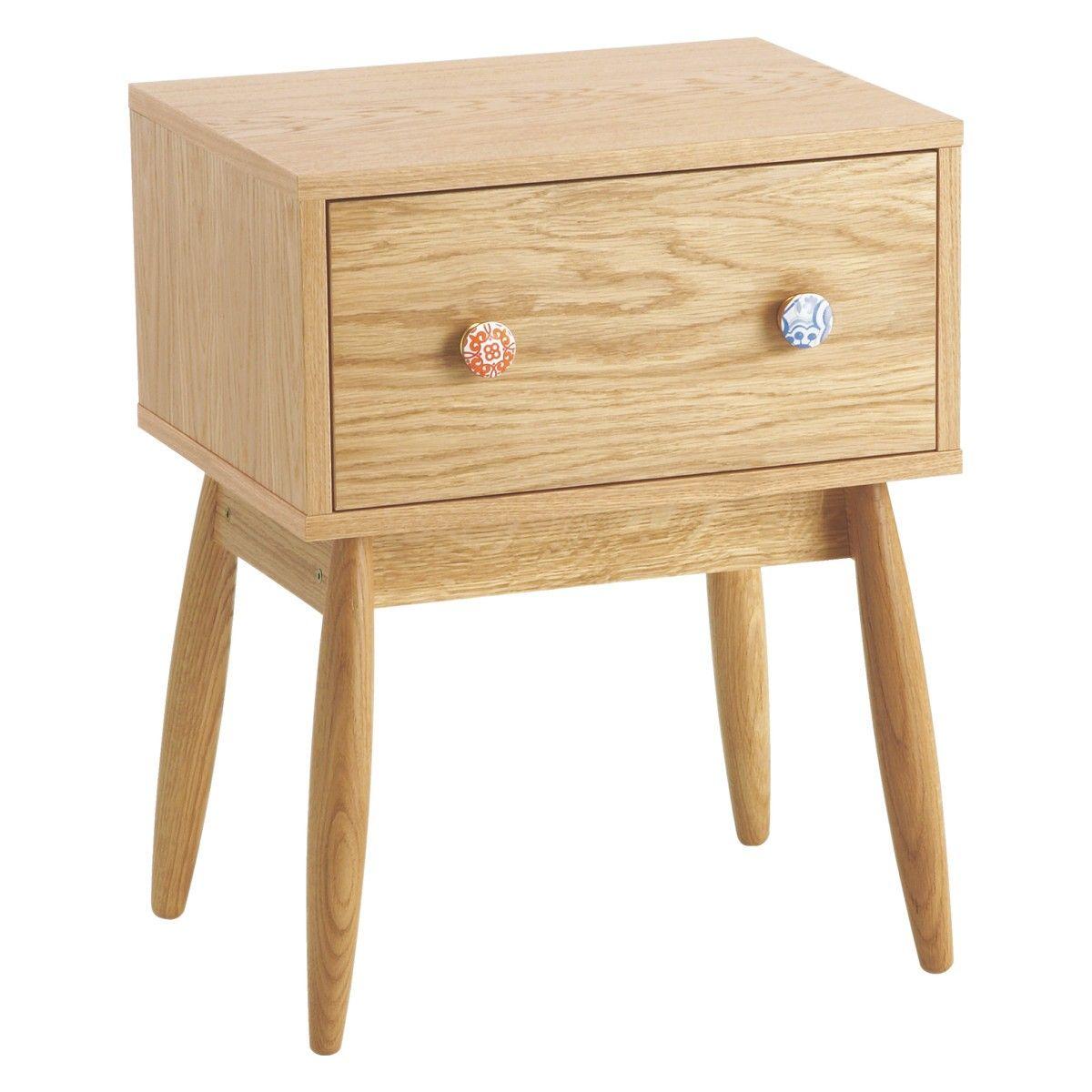 Fleur Oak 1 Drawer Bedside Cabinet Bedside Cabinet Drawers And  # Habitat Meuble De Tele