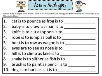 Huge Analogy Packet For Elementary Kids Speech Therapy