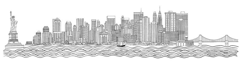 Line Drawing New York City Skyline : Nyc on pinterest manhattan skyline new york city and