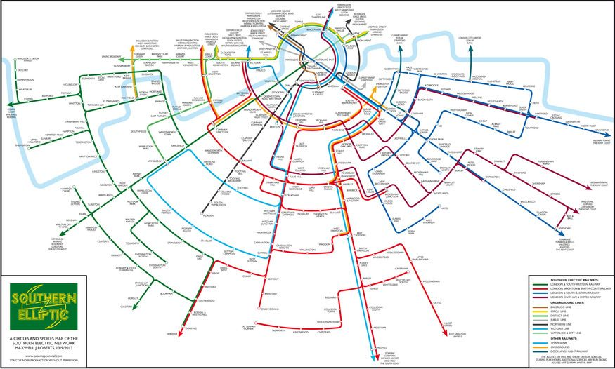 an alternative map of south london train routes londonist