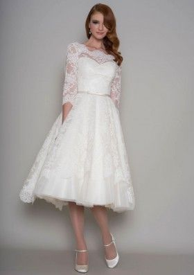 d95b576ce09 Tea Length A-line Elegant Bateau Neck Elbow Length Sleeve Wedding ...
