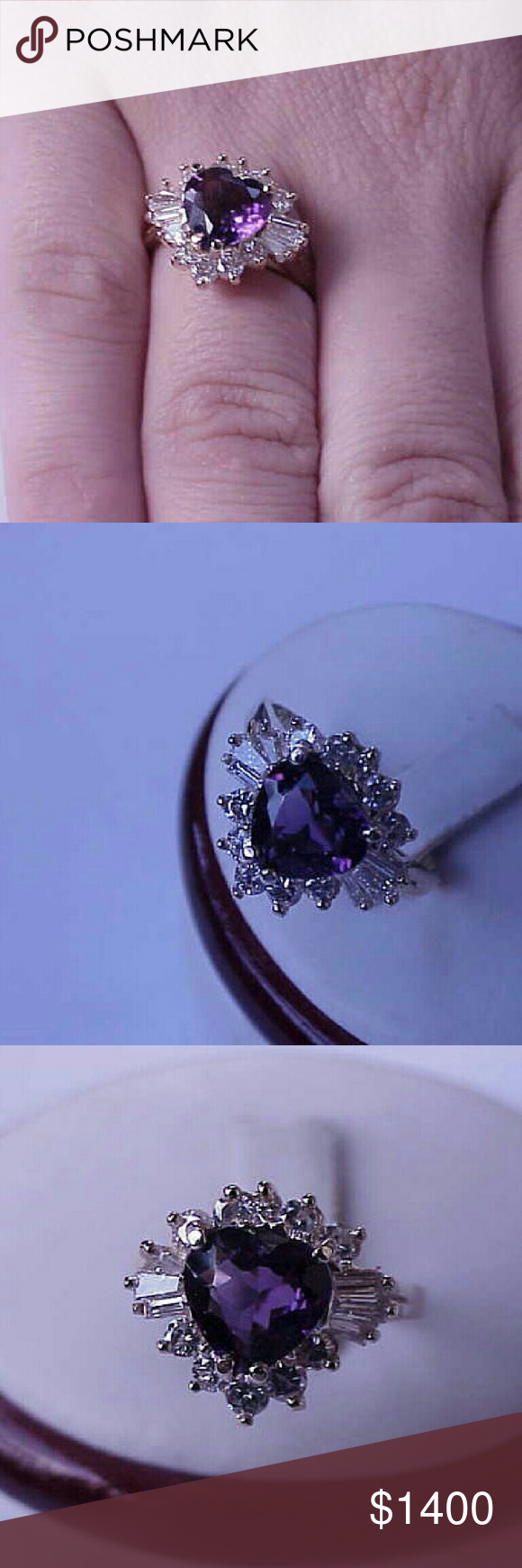 14k yellow  gold 3.25ct diamonds amethyst ring 9mm x 9mm ,estimated 2.00carats heart shaped amethyst and the 1.25ct brilliant cut  and baguettes cut diamonds.  Bright and sparkle!  Vs  in clarity and h in color.  Weight 4gr Size 6. Solid 14k yellow gold. Jewelry Rings