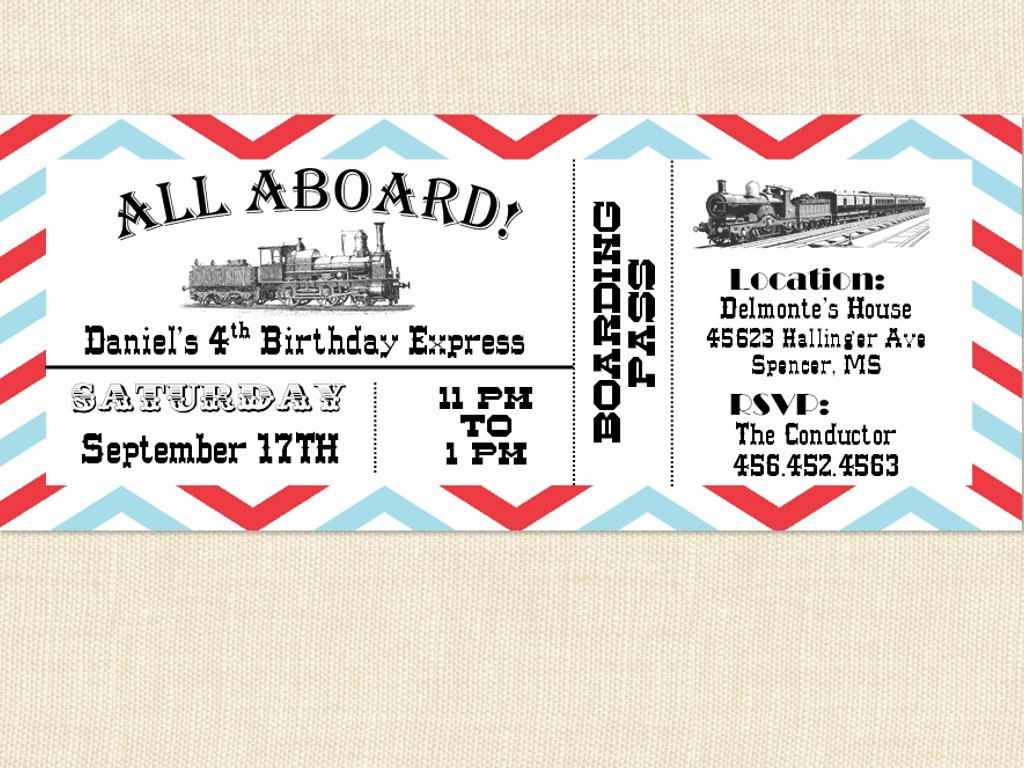 Free Printable Train Ticket Invitations Train party Pinterest