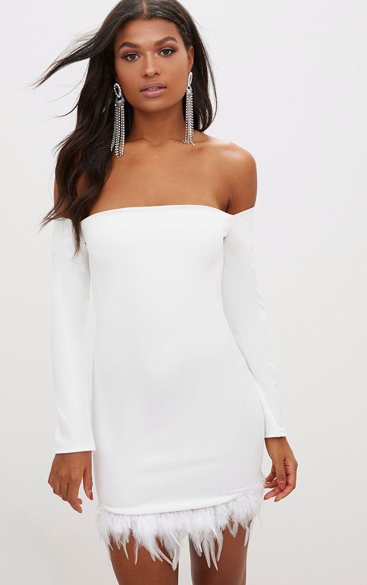 White Feather Trim Bardot Bodycon Dress   Christmas Bash   Pinterest