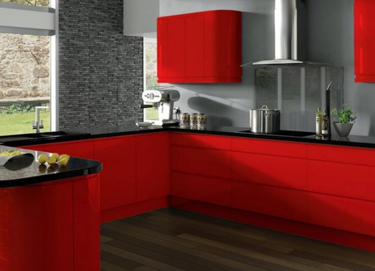 64 Amazing Black And Red Kitchen Decor Ideas Suitable For You Who Loves Cooking Roundecor Red Kitchen Decor Contemporary Kitchen Design Red Kitchen Cabinets