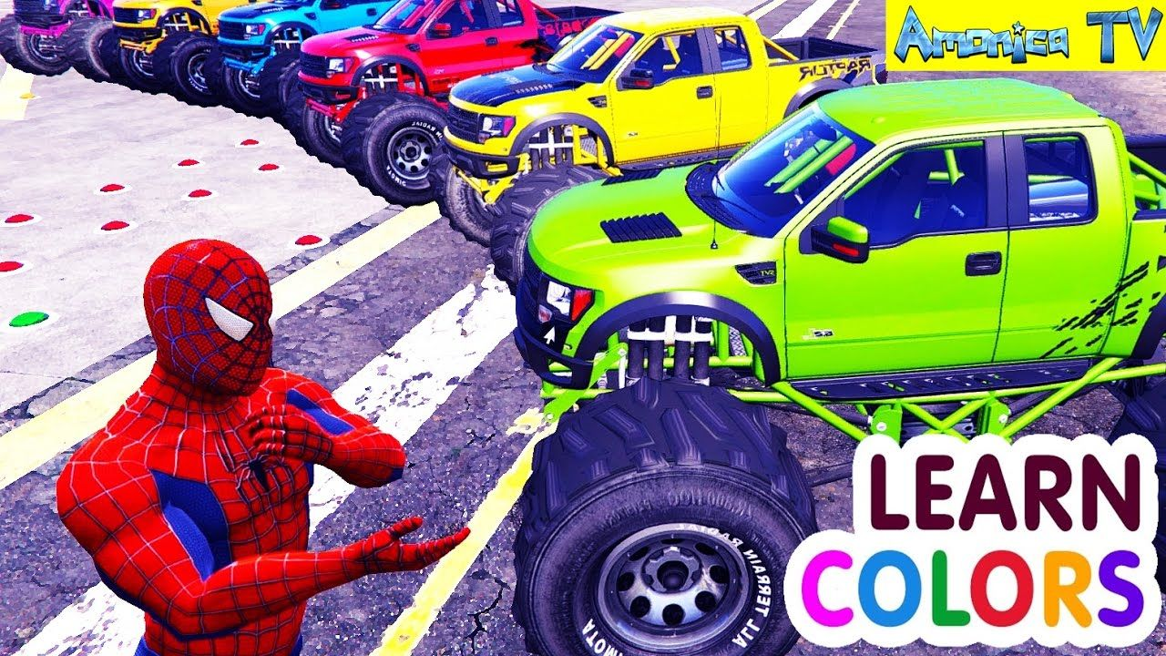 Learn Colors With Trucks Cars Coloring Spiderman Car Cartoon For Kids Amonica Tv Spiderman Coloring Spiderman Car Cartoon Kids