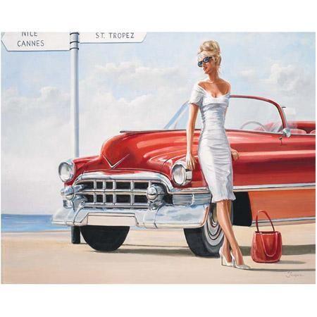 image femme sur voiture rouge 40 x 50 cm vintage. Black Bedroom Furniture Sets. Home Design Ideas