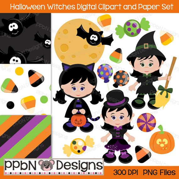 Halloween Witches Digital Clipart and Paper for by PPbNDesigns, $5.00