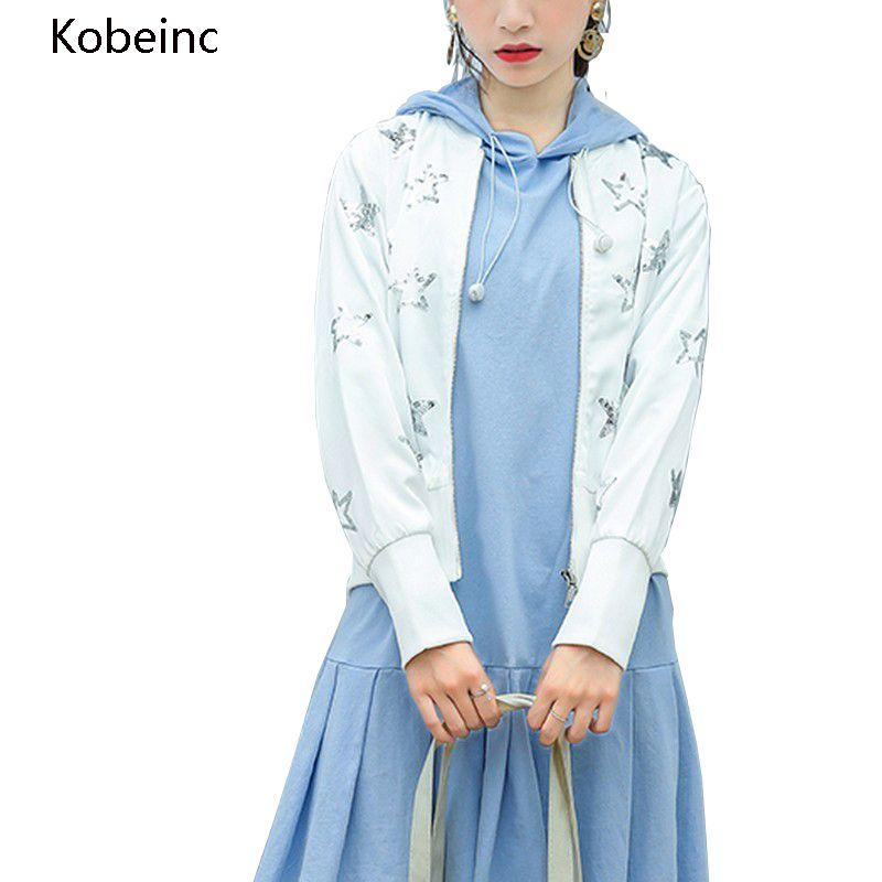 343358a7e1f8 Kobeinc Women Basic Coats Zipper Baseball Short Coat Slim Full Sleeve  Casaco Feminino Star Sequins Jacket