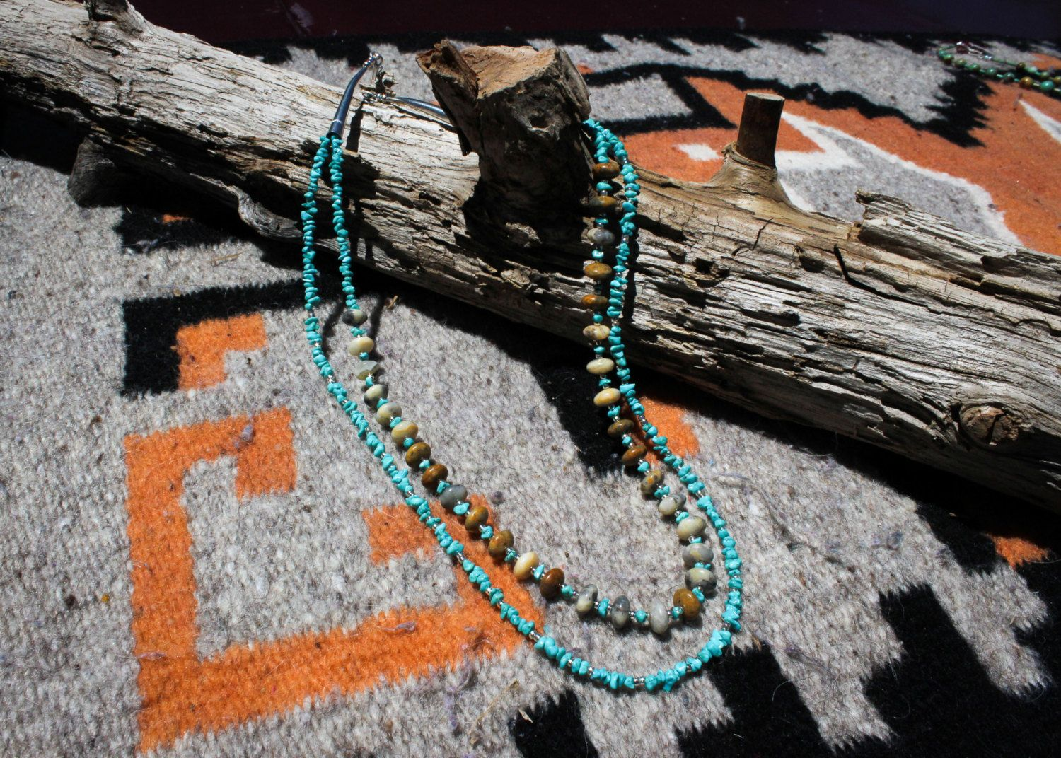 Kingman Turquoise Chips and Crazy Lace Agate Rondelles 2-Strand Necklace by NativeAmericanBling on Etsy