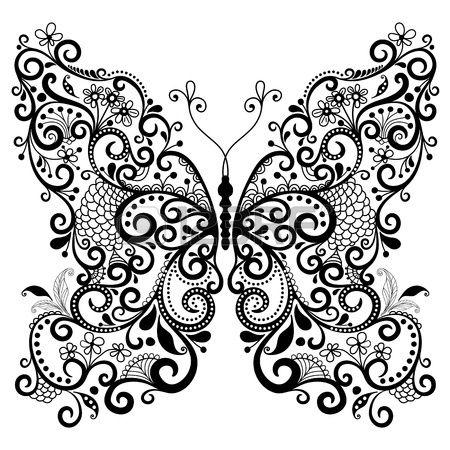 Décoratif fantaisie papillon dentelle vintage isolée sur