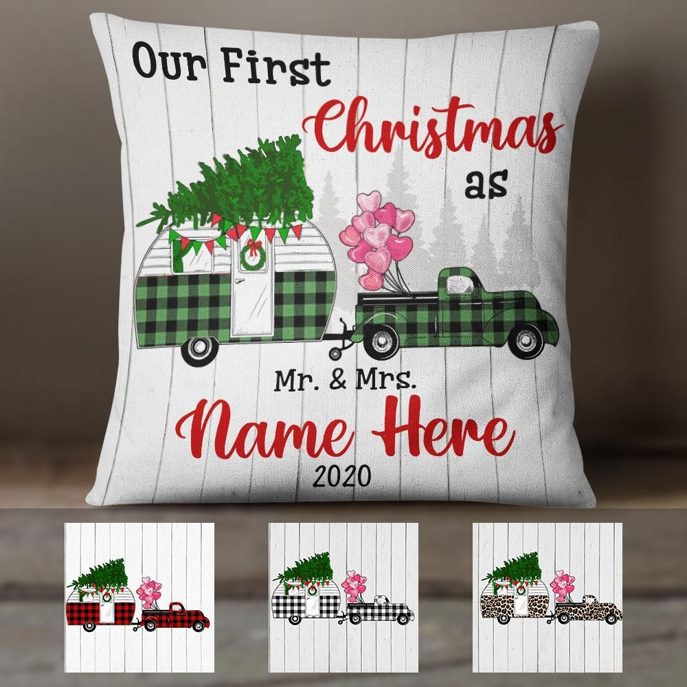 Personalized Red Truck Camper First Christmas Couple Canvas Pillow SB252 95O58 (Insert Included)