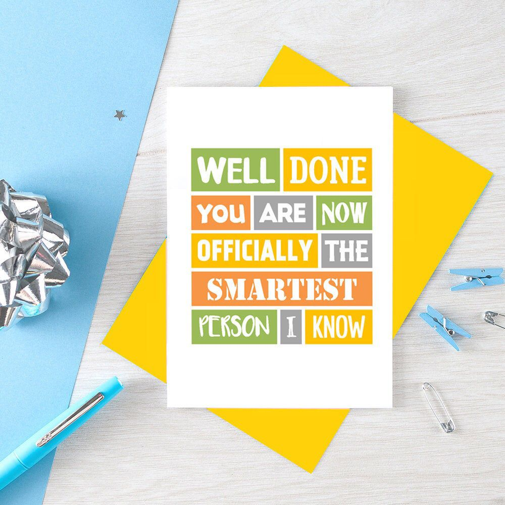 Well Done You Are Amazing Congratulations New Job Card Exam Pass Graduation