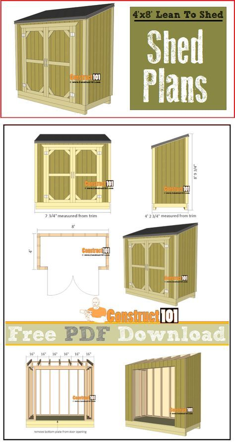 Photo of Lean To Shed Plans – 4'x8′ – PDF Download – Construct101