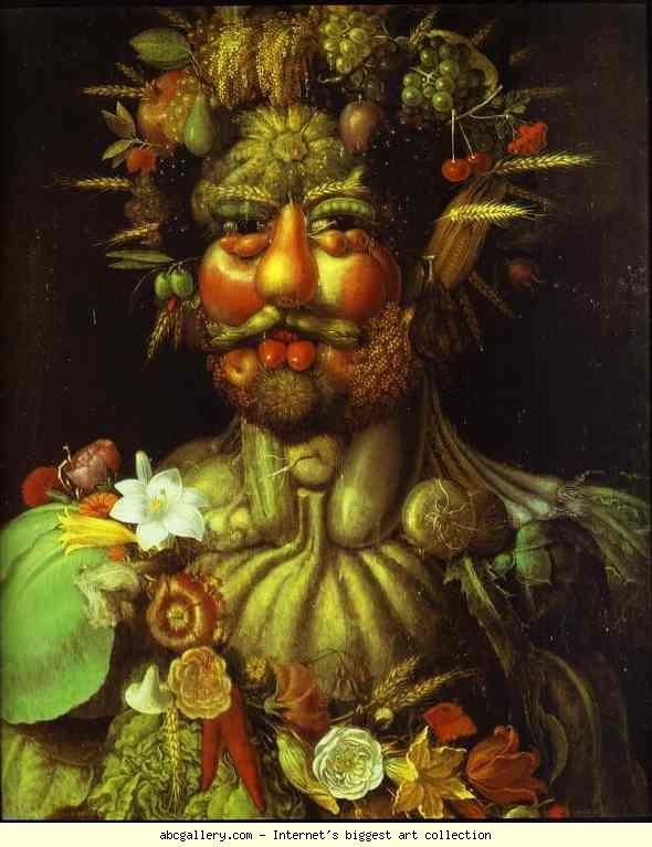 Giuseppe Arcimboldo. Vertumnus.  1590-1591. Oil on wood. Skoklosters Slott, Balsta, Sweden