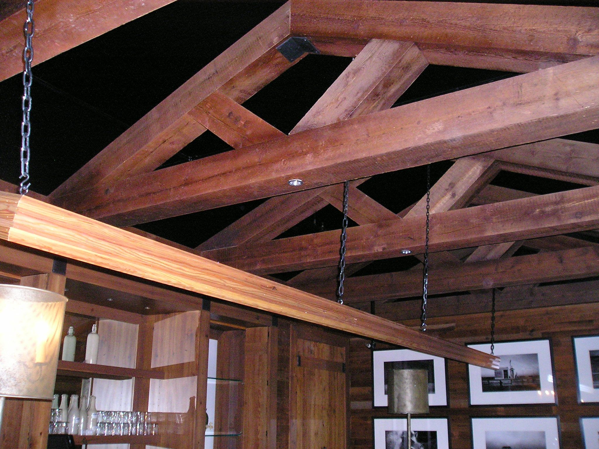 Heart Pine Rough Sawn Beams In Timber Frame Style With Barn Board