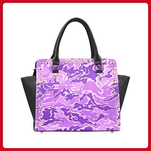 InterestPrint Rivet Shoulder Handbags Camo Purple Camouflage Pattern Print Rivet Shoulder Bag For Women - Shoulder bags (*Amazon Partner-Link)