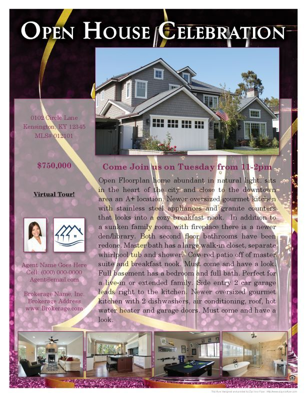 Celebration -Real Estate Flyer Sample | Zip Your Flyer