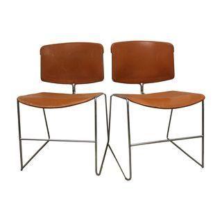 Orange Steelcase School Chairs - A Pair