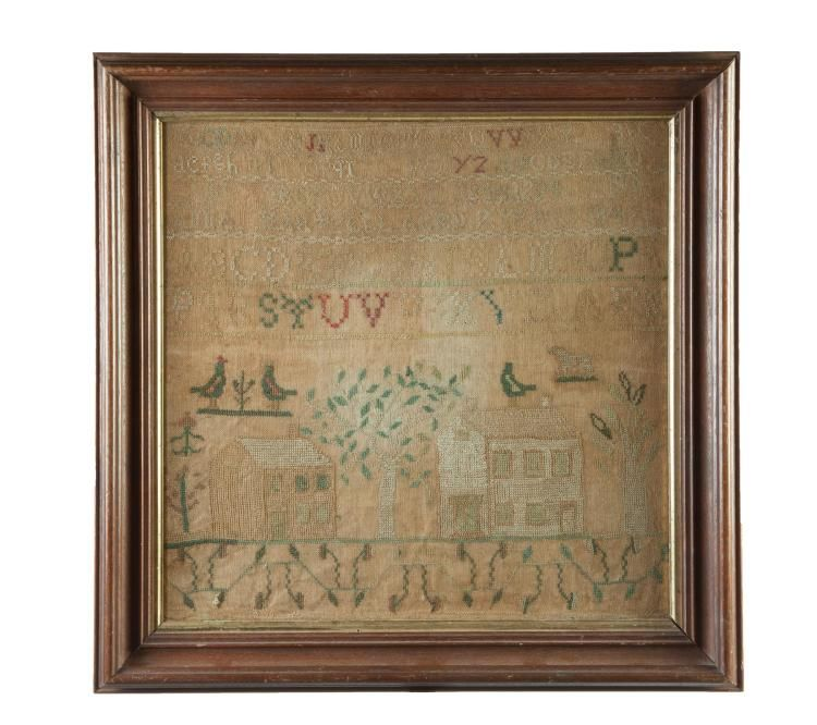 """<b>OHIO SAMPLER.</b> <br /> Silk on linen. Alphabets, two houses, dog and flowers with """"Anna Hartzell Aged 7 years, 1847"""". Frame with gilt liner, 20.5""""h. 21""""w. <br />  <br /> Anna was born and died in Deerfield, Ohio (1841-1906). Her first husband, Jared Miller McGowan served in the Civil War. Geneaology included."""