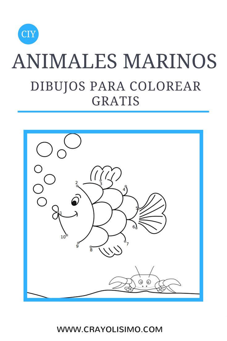 Dibujos de animales marinos para colorear gratis