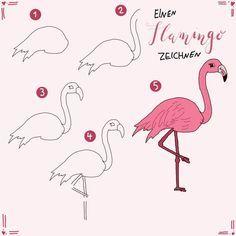 Hier gibt es 7 niedlichen Arten, wie man einen Flamingo zeichnen kann. Schritt f…
