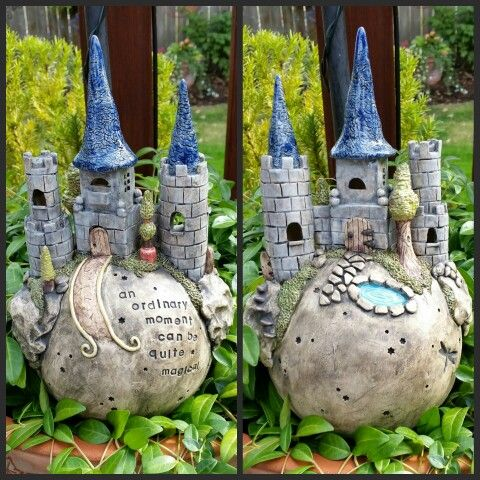 Hand built clay castle garden ball. | Clay inspirations | Pinterest ...