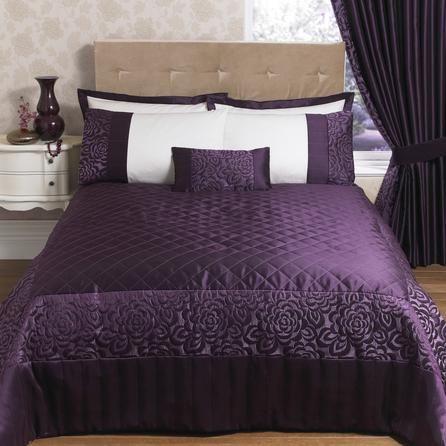 Plum elizabeth collection bedspread dunelm mill this for Plum bedroom designs