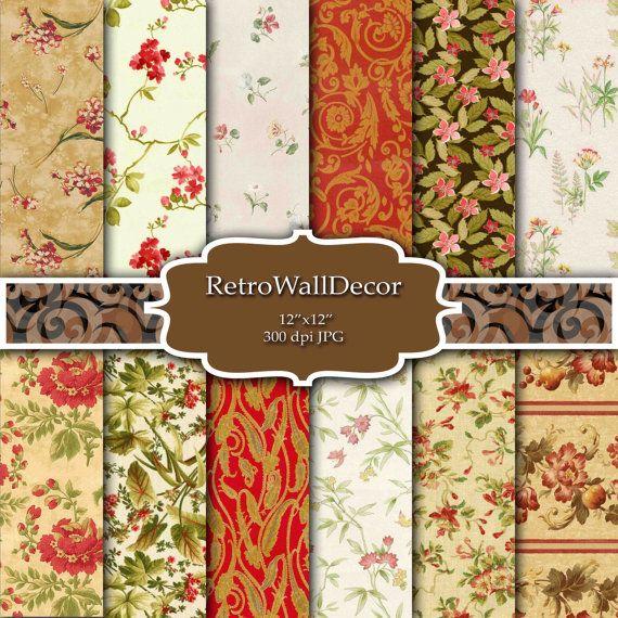 Floral Digital Paper Pack , Vintage Floral Backgrounds , Vintage Roses Decoupage Digital , Flowers Paper Pack 12x12 Buy 2 Get 1 FREE