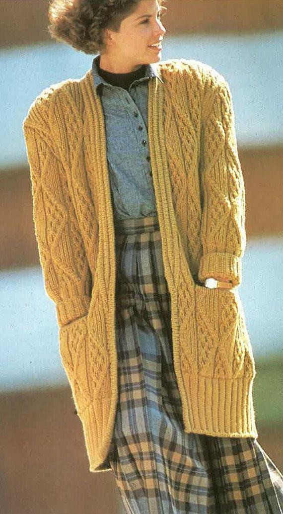 Long Chunky Stlye knitted Cardigan Pattern PDF No.0290 From ...