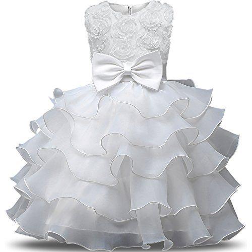 NNJXD Girl Dress Kids Ruffles Lace Party Wedding Dresses ...