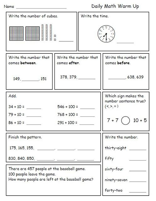 Math Morning Work for Second Grade | morning work | Pinterest ...