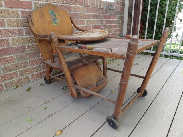 Antique Wooden Baby High Chair Converts Into Play Toy Chair