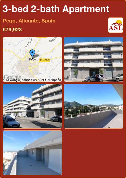 3-bed 2-bath Apartment in Pego, Alicante, Spain ►€79,923 #PropertyForSaleInSpain