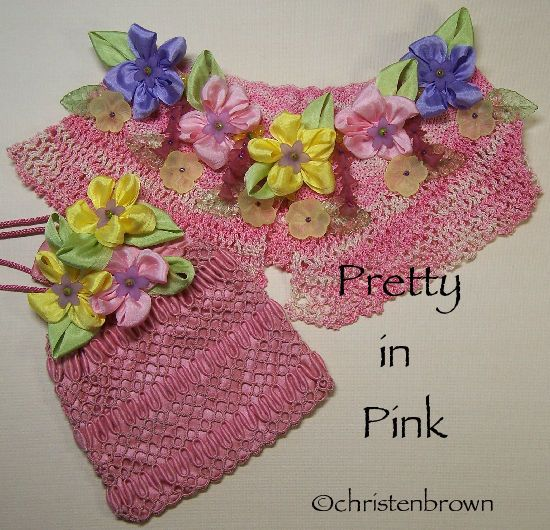Pretty in Pink: vintage crochet collar and tatted reticule festooned with silk ribbonwork flowers, and beads.