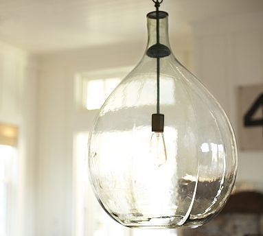 clift oversized glass pendant clear potterybarn hung this in my dining room and - Glass Pendant Lighting