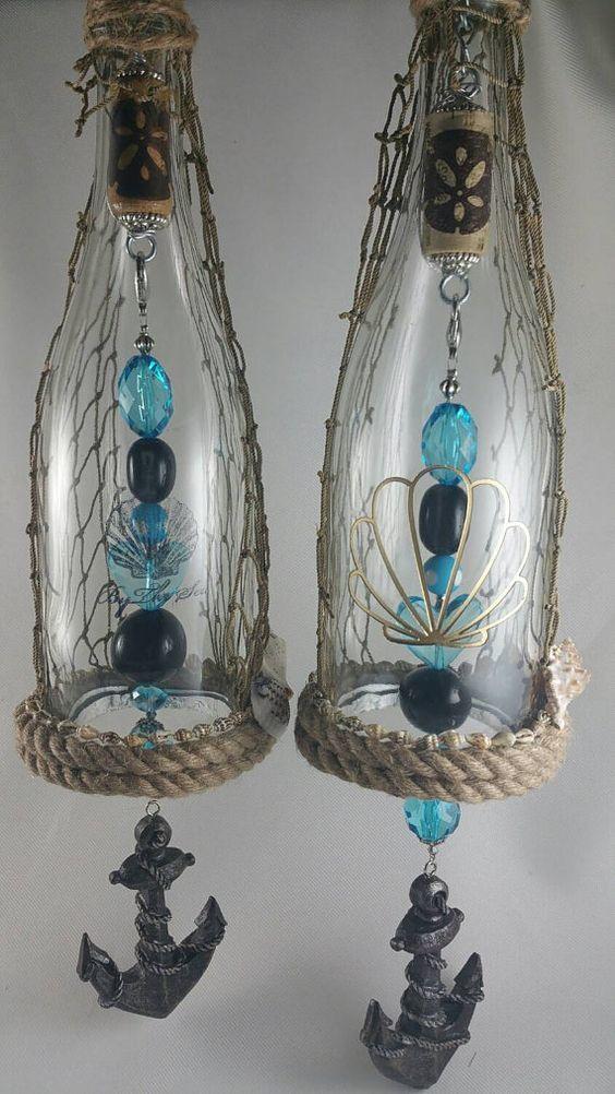 Beach Nautical Themed Wine Bottle Wind Chime Or Dangle