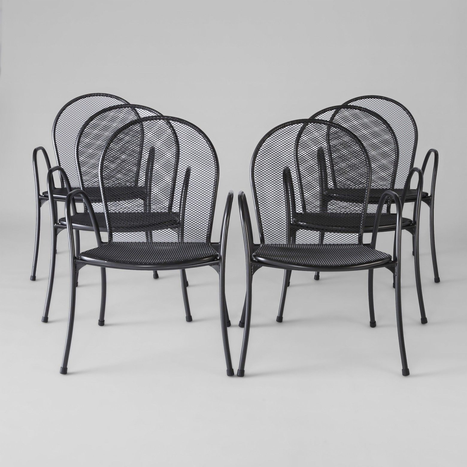 Carmack 6pk Mesh Patio Dining Chairs Black Threshold
