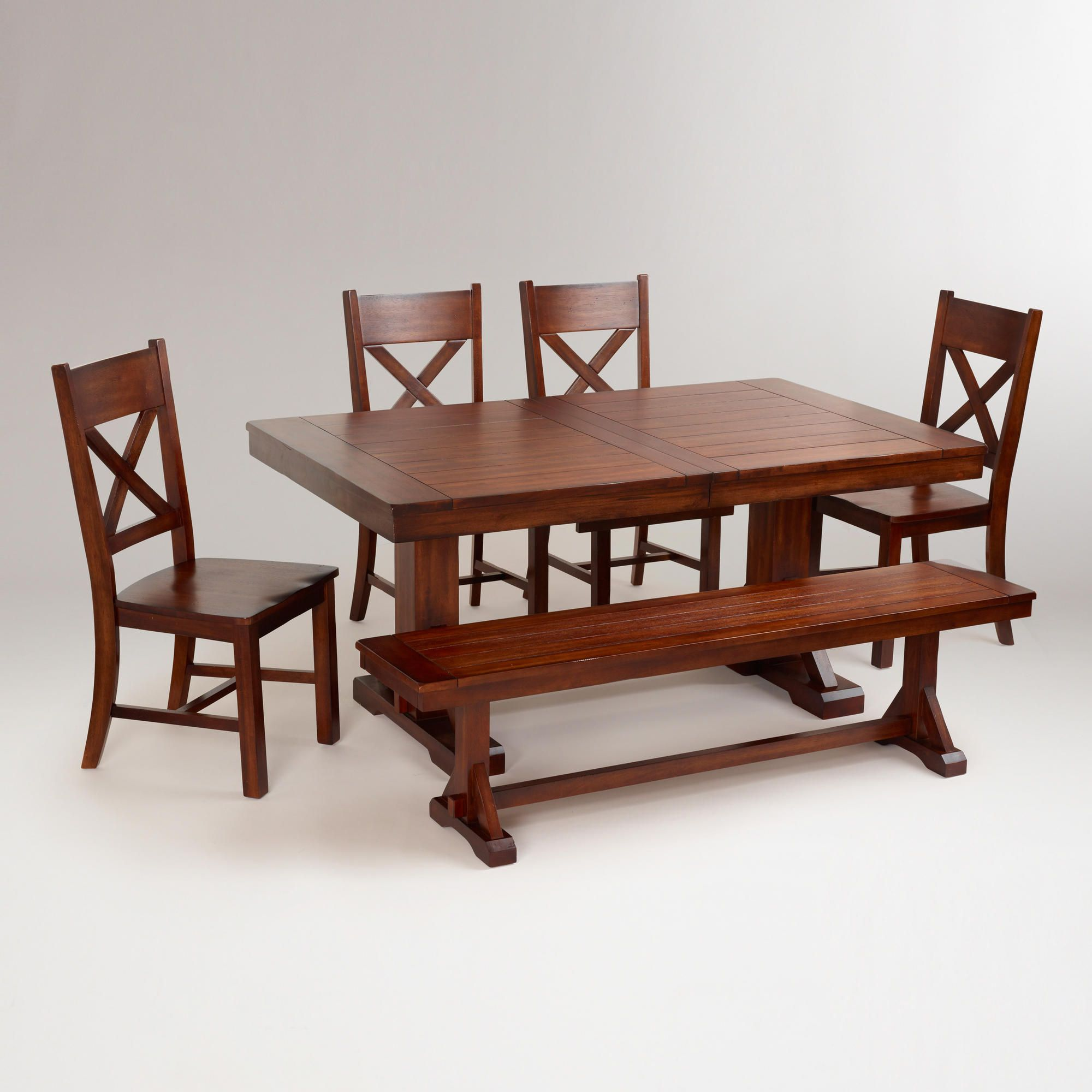 Rustic Wood Brinley Fixed Dining Table Black Dining Room Chairs